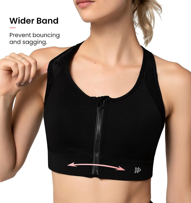 Yvette High Impact Sports Bra for Women Full Coverage High Support Racer Back Sports Bras for Plus Size