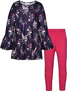 BONNY BILLY Girl's Clothing Set 2 Pcs Floral Ruffle Long Sleeve Jersey Top + Leggings