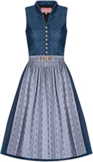 Lieblingsgwand Midi Dirndl 65 cm blau grau Louise 007493, Rocklänge: ca. 65 cm, hochgeschlossen, mit elegantem Rosenmuster, Vintage-Details