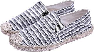 Hommes Chaussures décontractées Chaussures en Toile rayées Mode Mocassins Confortables Chaussures Plates légères pour Chau...