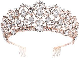 LUCKYYY Corona da Sposa, Copricapo di Cristallo di Fascia Alta, Accessori da Sposa