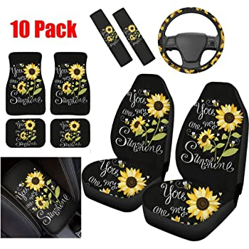 YORXINGY Polyester Fabric Car Headrest Covers Sunshine Sunflower Design 2 Pieces Vehicle Head Rest Covers Compatible for Womans