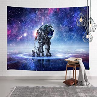 Modern Outer Space Tapestry, Astronaut on Universe Starry Sky Stars Tapestry Wall Hanging, Milky Way Wall Tapestry Galaxy Tapestry Wall Hanging Art for Bedroom Living Room Dorm Home 60''W X 40''H
