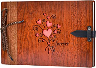 ZEEYUAN Wooden Photo Album Scrapbook DIY Photo Book Wedding Guest-Book 80 Pages Memory Book Birthday Anniversary Valentine's Gift for Mother Father (Forever)