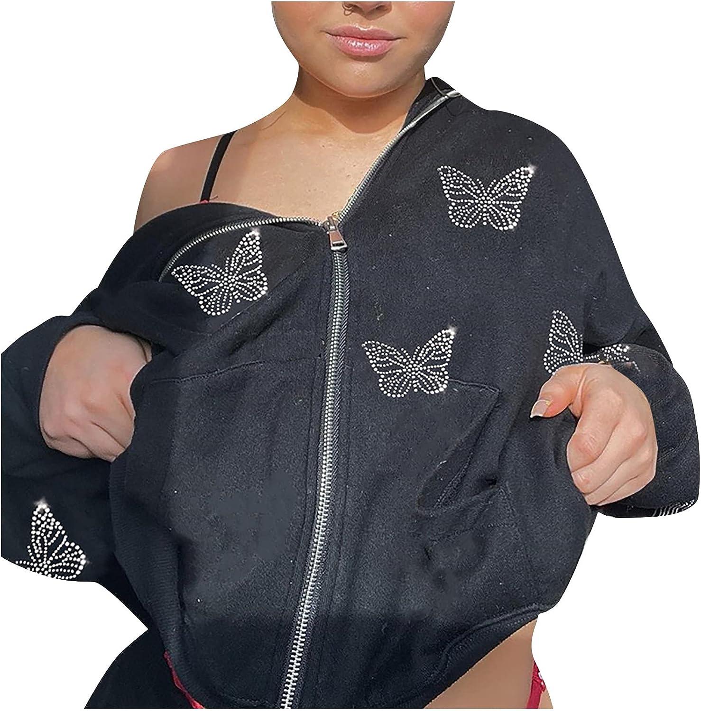 Women's Hoodies Coat Fashion Hot Drill Zipper Hooded Guard Sweatshirt Long Sleeve Loose Plus Size Jacket Tops
