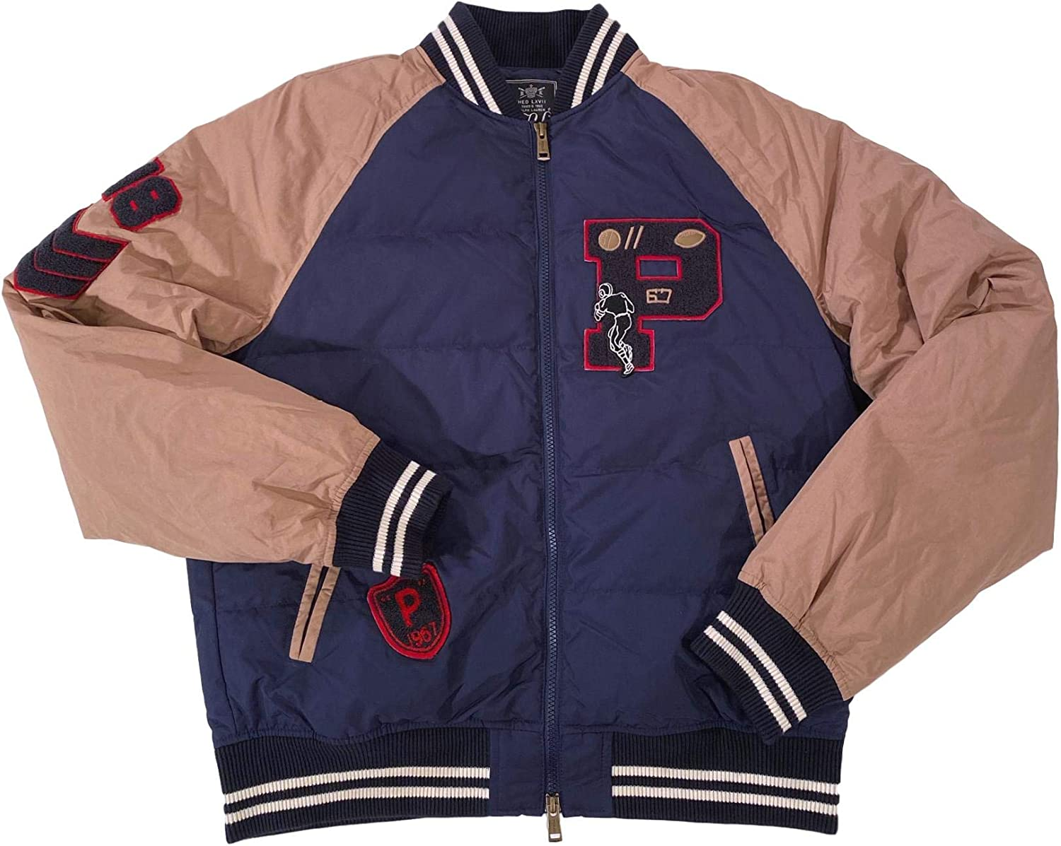 Men's Collegiate Varsity Football Letterman Chenille Patched Casual Bomber Jacket