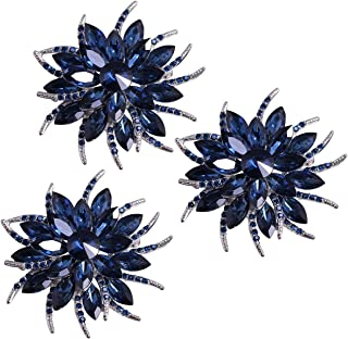 Merdia Flower Brooches Pin for Women Brides Created Crystal Brooch Blue(3Pcs)