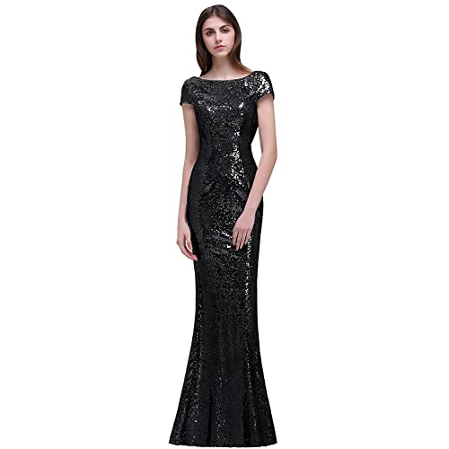 27e898ea4e18 MisShow Women Sequins Prom Bridesmaid Dress Glitter Rose Gold Long Evening  Gowns Formal