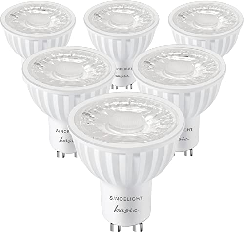 SINCELIGHT GU10 LED Light Bulb 60° Reflector, 6W, RA≈92, Cool White 6000K, Non-Dimmable, 550 Lumens Equivalent to 50W...