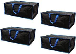 Earthwise Reusable Storage Bags Totes Extra Large Container Backpack Handles w/Zipper Closure in Matte Black Great for Mov...