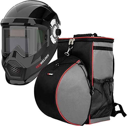 high quality YESWELDER Anti Fog Up 2021 True Color Solar Powered Auto Darkening Welding Helmet with Side View&Welding high quality Backpack Extreme Gear Pack with Helmetcatch sale