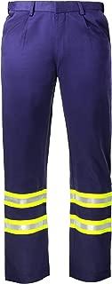 Flame Resistant FR High Visibility Hi Vis 88% C/12% N Pant/Trouser (42W x 32L, Navy Blue)