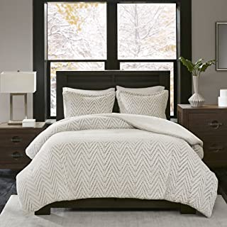 Madison Park Adelyn Ultra Soft Plush Faux Fur Chevron 3 Pieces Bedding Sets Bedroom Comforters, King/Cal King, Ivory