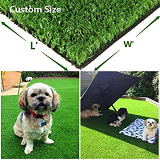 Green Pasture Artificial Grass Turf w/Drainage Holes & Rubber Backing, Indoor/Outdoor Realistic Synthetic Fake Lawn Rug Mat for Backyard, Balcony, Landscape and Pets - 0.4
