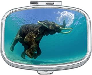 FKCDES Pill Box - Customized Blue Swimming Elephant Pattern Design Pill Boxes, Portable Rectangular Metal Silver Pills Case, Compact 2 Space, Pill Cases for Travel/Pocket/Purse.