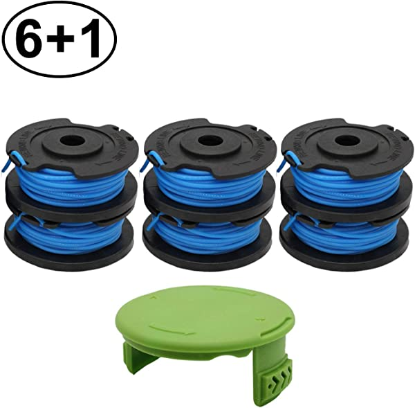 RONGJU 6 Pack Weed Eater Spool For Greenworks 21332 21342 24V 40V 80V Cordless Trimmer 16ft 0 065 Single Line String Trimmer Replacement Spool 29252 With 3411546A 6 Spool Cap Covers 6 Spools 1 Cap