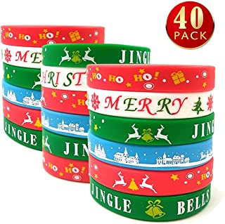 9M9 40 PCS Christmas Silicone Bracelets Xmas Rubber Silicone Wristbands Accessories Gift for Kids Adults Stocking Stuffers, Holiday Decoration Wrist Band Party Supplies Favors(Christmas)