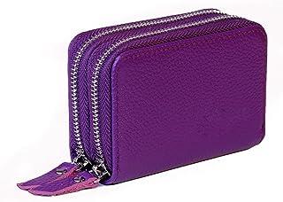 Women's RFID Blocking Leather Zipper Wallet Purse Credit Card Case Holder (Purple)
