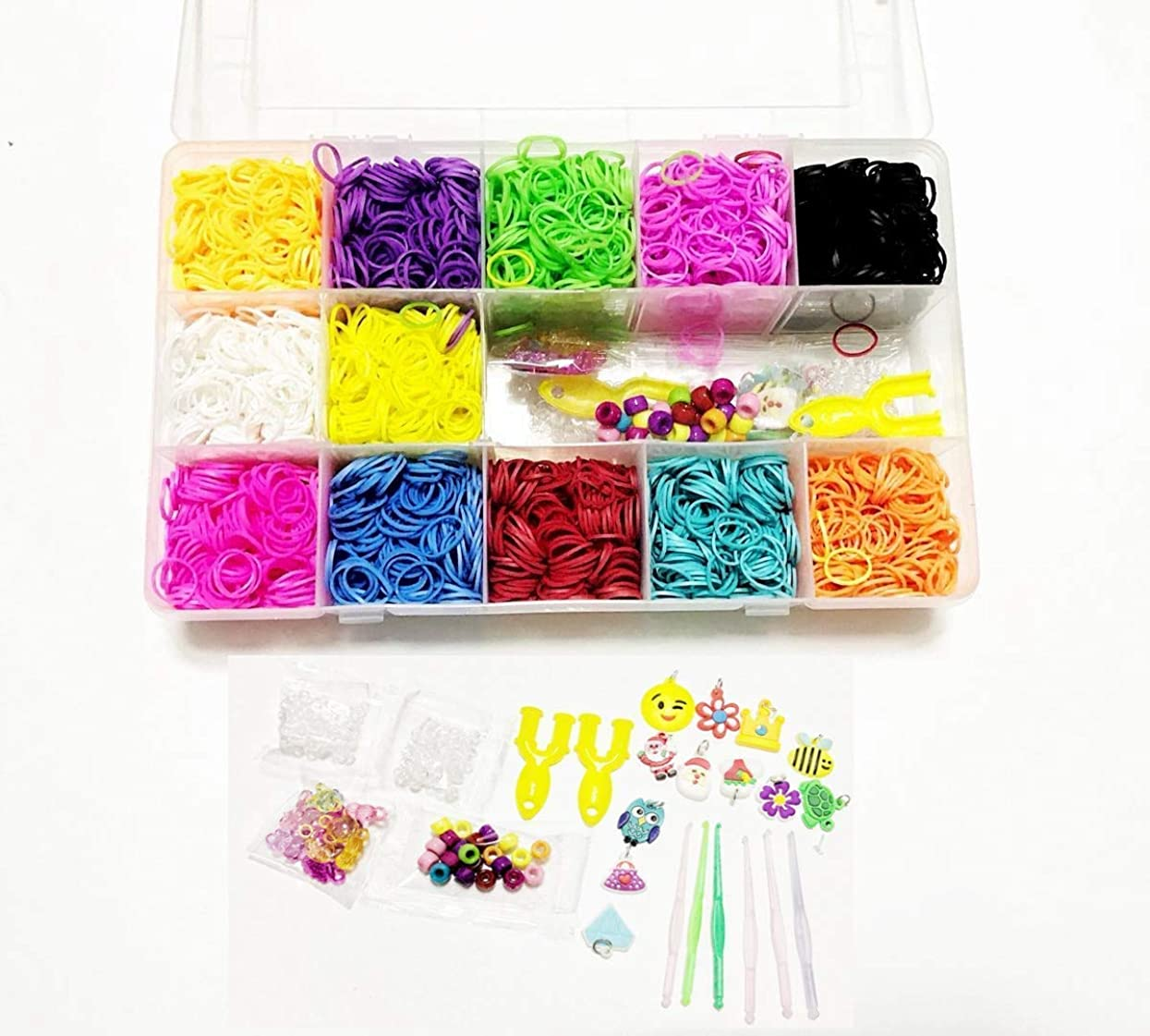 FRANNKY 5,500Pcs Rainbow Rubber Bands Mega Refill Loom with 6 Hooks,100 S-Clips,12 Silicone Charms,45 Beads