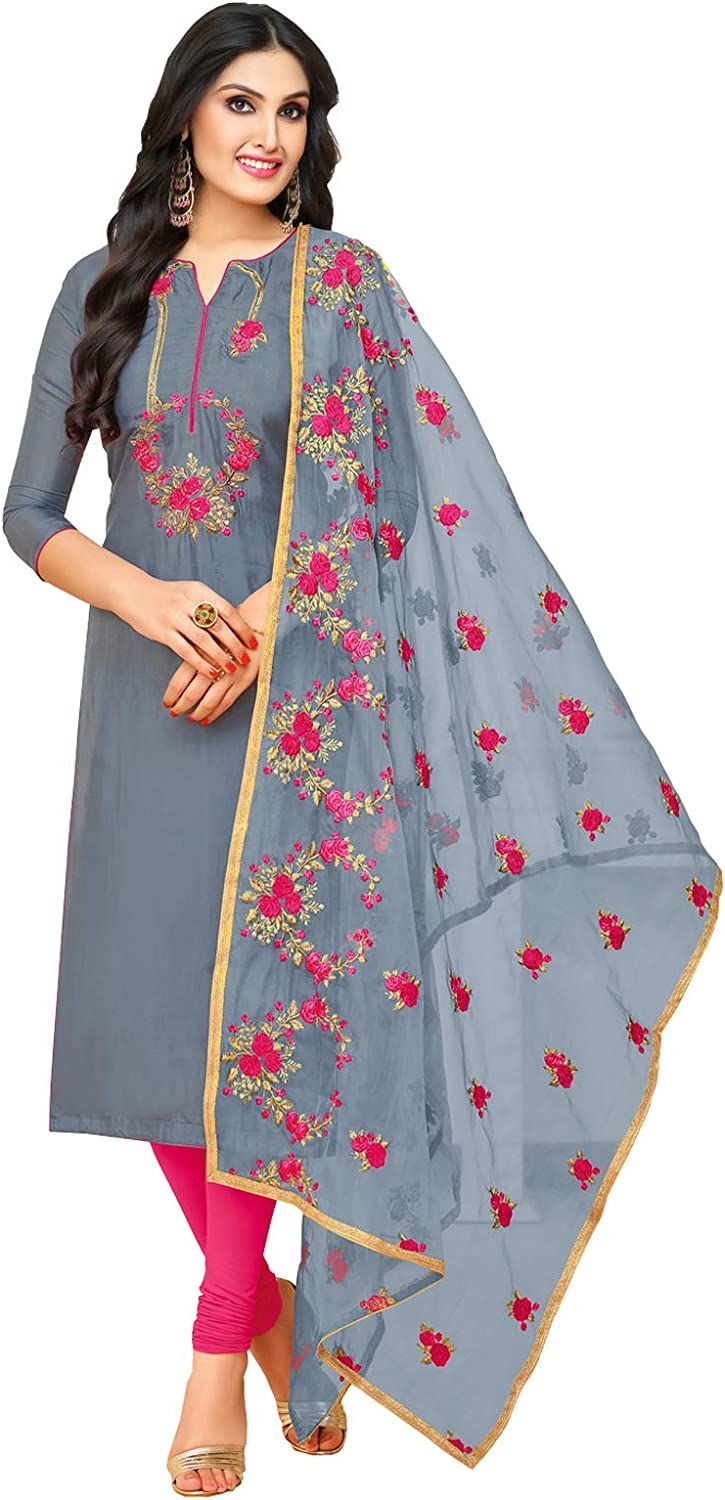 Rajnandini Women's Upada Silk Embroidered Dress Material(JOPLMF508_Charcoal_Free Size)