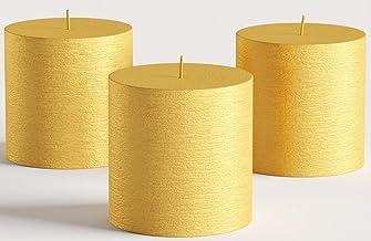 مجموعة من 3 شموع عمودية ذهبية معدنية مقاس 3 بوصة × 3 بوصة غير معطرة مصنوعة يدويًا لحفلات الزفاف، وديكور المنزل، والكنيسة، ...