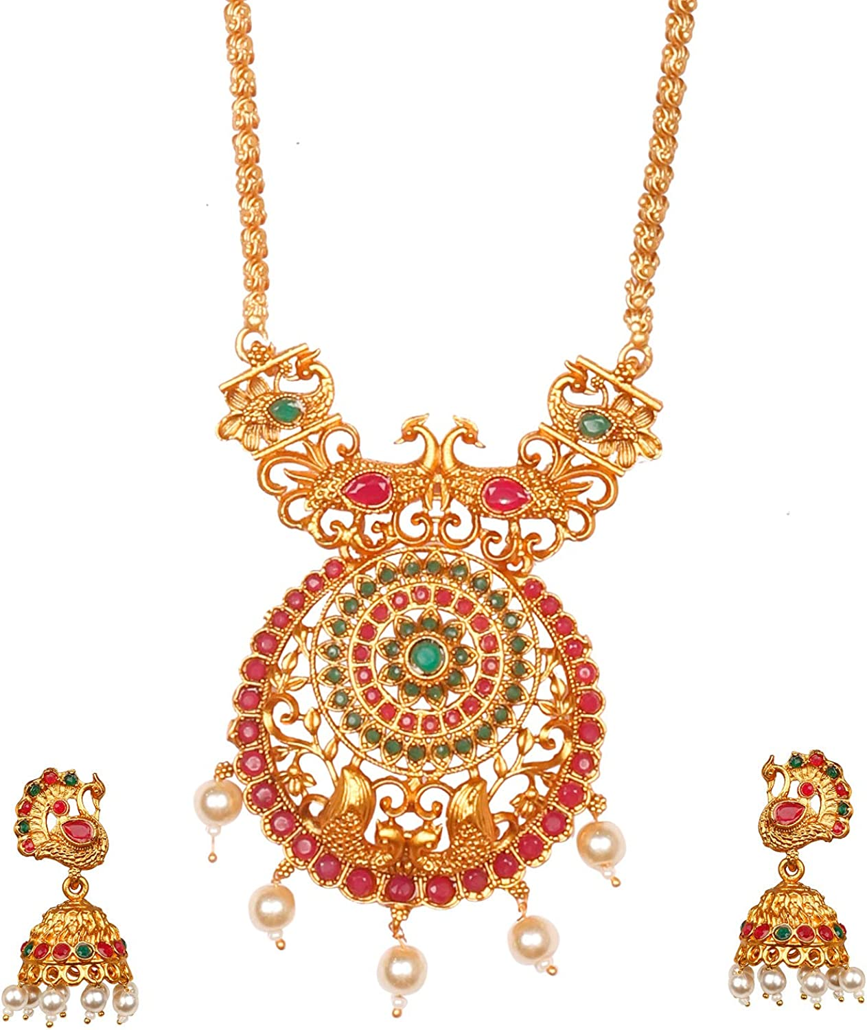 Bodha Traditional Indian Handcrafted 18K Antique Gold Plated Temple Jewellery Necklace with Matching Earring for Women (SJ_2899)