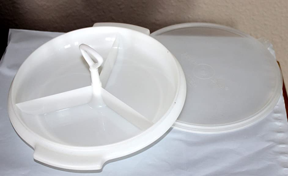 Vintage Tupperware White Suzette Divided Serving Dish Snack Tray