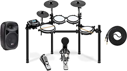 LyxJam 8-Piece Electronic Drum Kit, Professional Drum Set with Real Mesh Fabric, 448 Preloaded Sounds, 70 Songs, Choke,Rim,Kick Pad, Drum Sticks With SPA8 Active Speaker & 15 FT Qtr to Qtr Cable