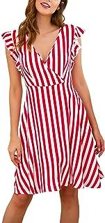 Women's Short Sleeve Striped Vintage Casual Flowy Midi Belt Dress