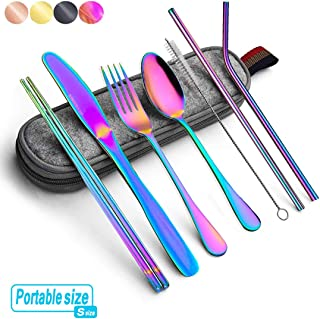 Rainbow Travel flatware set with Case Stainless Steel silverware Tableware Set colorful reusable-portable-utensils-silverware-case,Include Knife/Fork/Spoon/Straw (Portable RB)