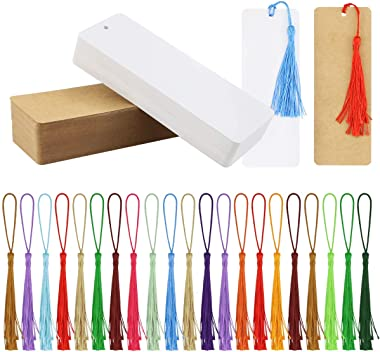 Wpxmer 120 Pcs Kraft Paper Blank Cardstock Bookmarks, Paper Bookmarks with 100 Pieces Colorful Tassels for DIY Classroom Proj