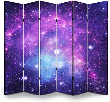 APED DECOR Wood Screen Room Divider Constellatio Microscopium Mic Folding Screen Canvas Privacy Partition Panels Dual-Sided W