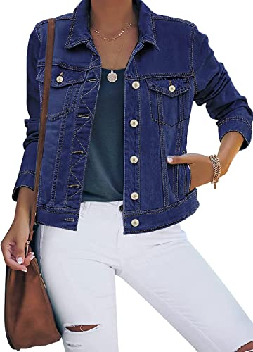 Maolijer Women's Classic Button Down Long Sleeve Stretch Fitted Denim Jean Jacket