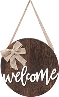Dahey Welcome Sign Rustic Front Door Decor Round Wood Hanging Sign Farmhouse Porch Decorations for Home, Halloween,Brown