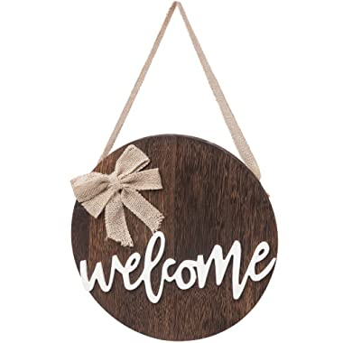 Dahey Welcome Sign Rustic Front Door Decor Round Wood Hanging Sign Farmhouse Porch Decorations for Home Thanksgiving Christmas,Brown