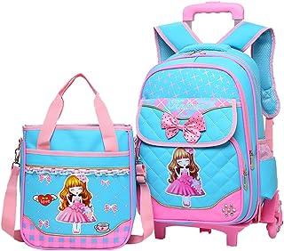 Fanci Bowknot Princess Style Waterproof Elementary Girls Rolling School Backpack Trolley Carry on Luggage