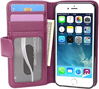 Cadorabo Book Case Works with Apple iPhone 7 / iPhone 7S / iPhone 8 in Bordeaux Purple – with Magnetic Closure and 3 Card Slots – Wallet Etui Cover Pouch PU Leather Flip