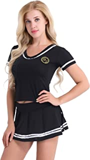 Alvivi Sexy Women's Cheer Leaders Cosplay Costume T-Shirt Top and Mini Skirt Lingerie Set with G-String