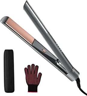Professional Hair Straightener,Tourmaline Ceramic Flat Iron,Travel Size,Dual-Voltage 2-in-1 Straightener and Curler,Rotary Safety Lock,LED Light to Adjust 320?-460?Salon-Class High Temperature,Gray
