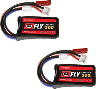 Venom Fly 30C 2S 300mAh 7.4V LiPo Battery with JST and E-flite PH Plug x2 Pack Combo - Compare to E-flite EFLB2802S30