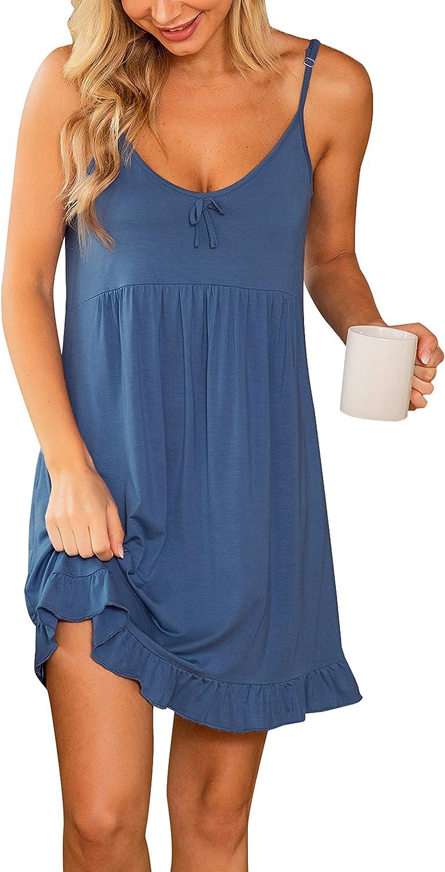 Lovasy Womens Nightgown Chemise Full Slip Dress Lace V Neck Negligee Bridal Babydoll Lingerie Sleepwear
