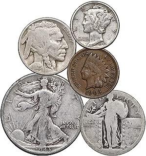 1900-1947 US 5 Coin Lot - Indian, Buffalo, Mercury, Standing & Walking Liberty 1 Cent - Half Dollar