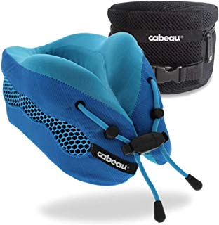 Cabeau Evolution Cool Travel Pillow- The Best Air Circulating Head and Neck Memory Foam Cooling Airplane Neck Pillow - Backed by Sleep Science for Ultra Comfort - Blue