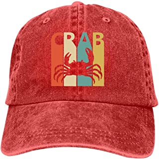 LeoCap Funny Vintage Crab Gift Baseball Cap Unisex Washed Cotton Denim Hat Adjustable Caps Cowboy Hats
