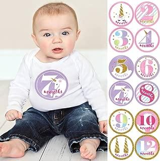 Baby Girl Monthly Sticker Set - Rainbow Unicorn - Baby Shower Gift Ideas - 12 Piece