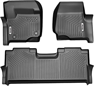 OEDRO Floor Mats Compatible for 2017-2019 Ford F-250 / F-350 Super Duty Crew Cab,Unique Black TPE All-Weather Guard Includes 1st and 2nd Row: Front, Rear, Full Set Liners
