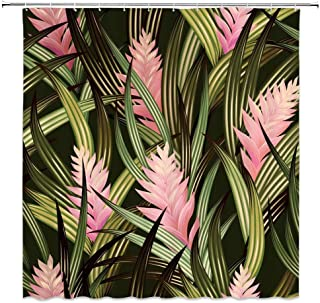 MNSC Tropical Leaves Shower Curtain Banana Leaf Watercolor Flowers Palm Tree Jungle Leaf Plant Exotic Forest Floral Garden Nature Design Image Decor Fabric Bathroom Curtain 71x71IN with Hooks,Green
