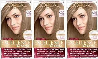 L'Oreal Paris Excellence Creme Permanent Hair Color, 7.5a Medium Ash Blonde (Pack of 3)