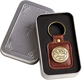 Christian Faith Faux Leather Keychain for Men, Keyring in Gift Tin