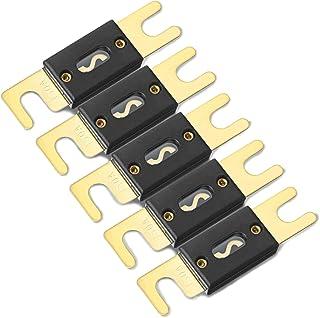 ZHITING 5 Stück 150A ANL Sicherung Mini Fuse Vergoldet für Kfz Audiosysteme Endstufe Schutz Goldfarben/Schwarz